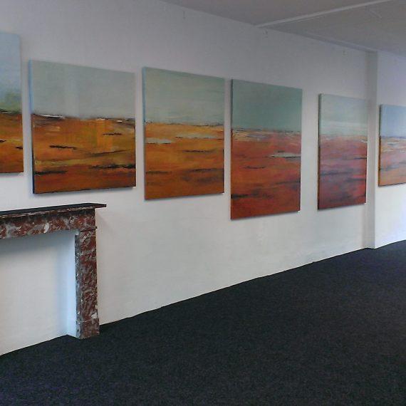 Expo 8 doeken Achterland in Galerie KuBra Den Bosch