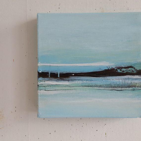 Vlakkeland XVl - olieverf op canvas - 20 x 20 x 4 cm - nu voor € 110,-
