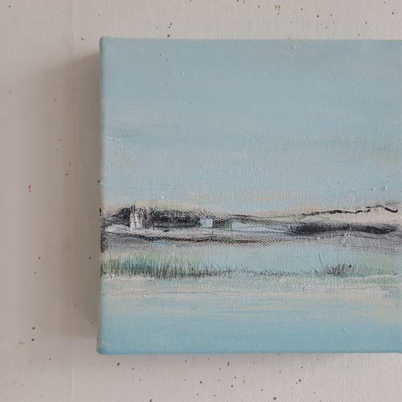 Vlakkeland XV - olieverf op canvas - 20 x 20 x 4 cm - nu voor € 110,-