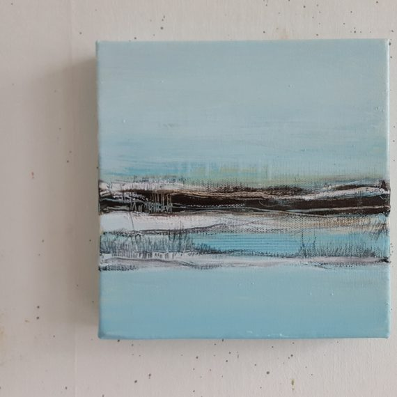 Vlakkeland Xl - olieverf op canvas - 20 x 20 x 4 cm - nu voor € 110,-