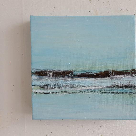 Vlakkeland lX - olieverf op canvas - 20 x 20 x 4 cm - nu voor € 110,-